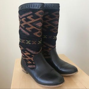 Black Patterned Boots
